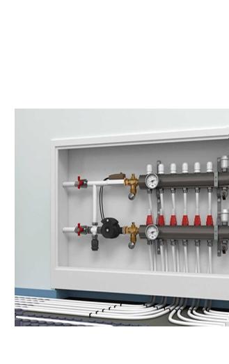 Underfloor heating pipes terminating at manifold.